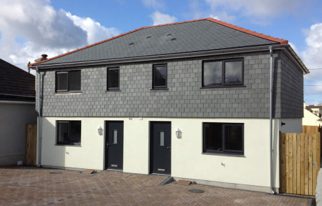 Slate hung semi's new build Helston by M2 Developments Ltd